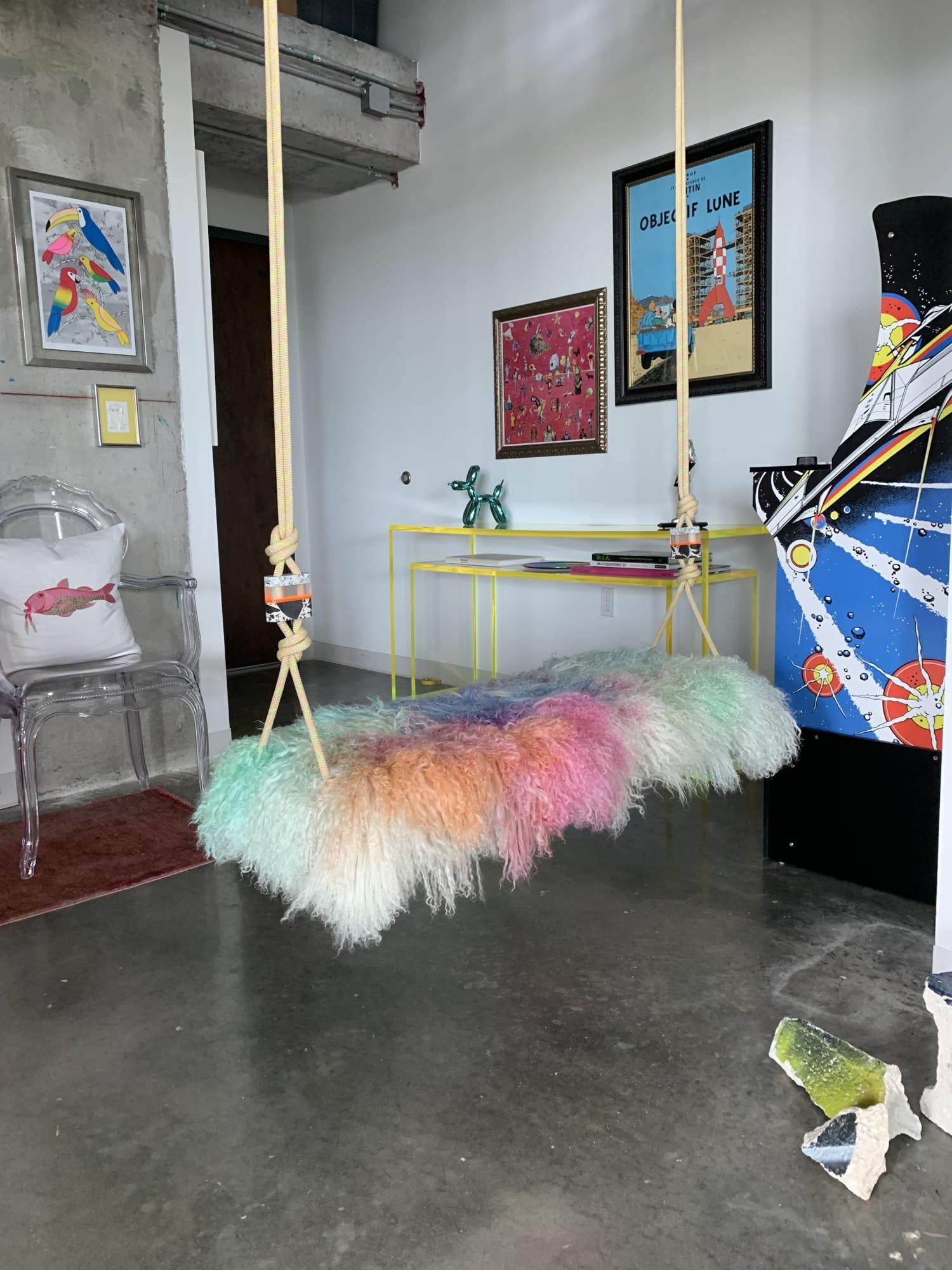 Multi Color fur seat indoor swing