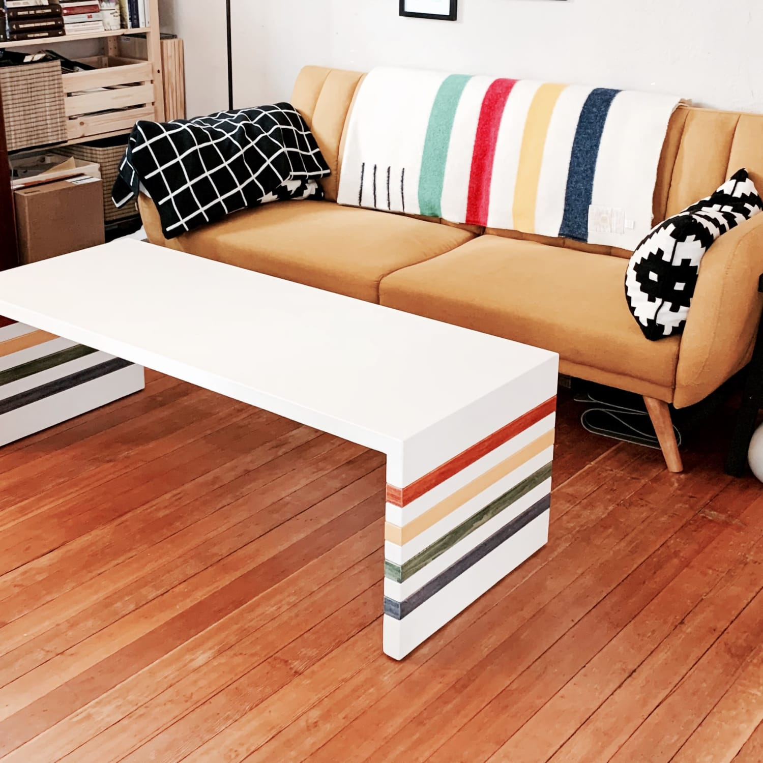 Trader blanket inspired concrete coffee table