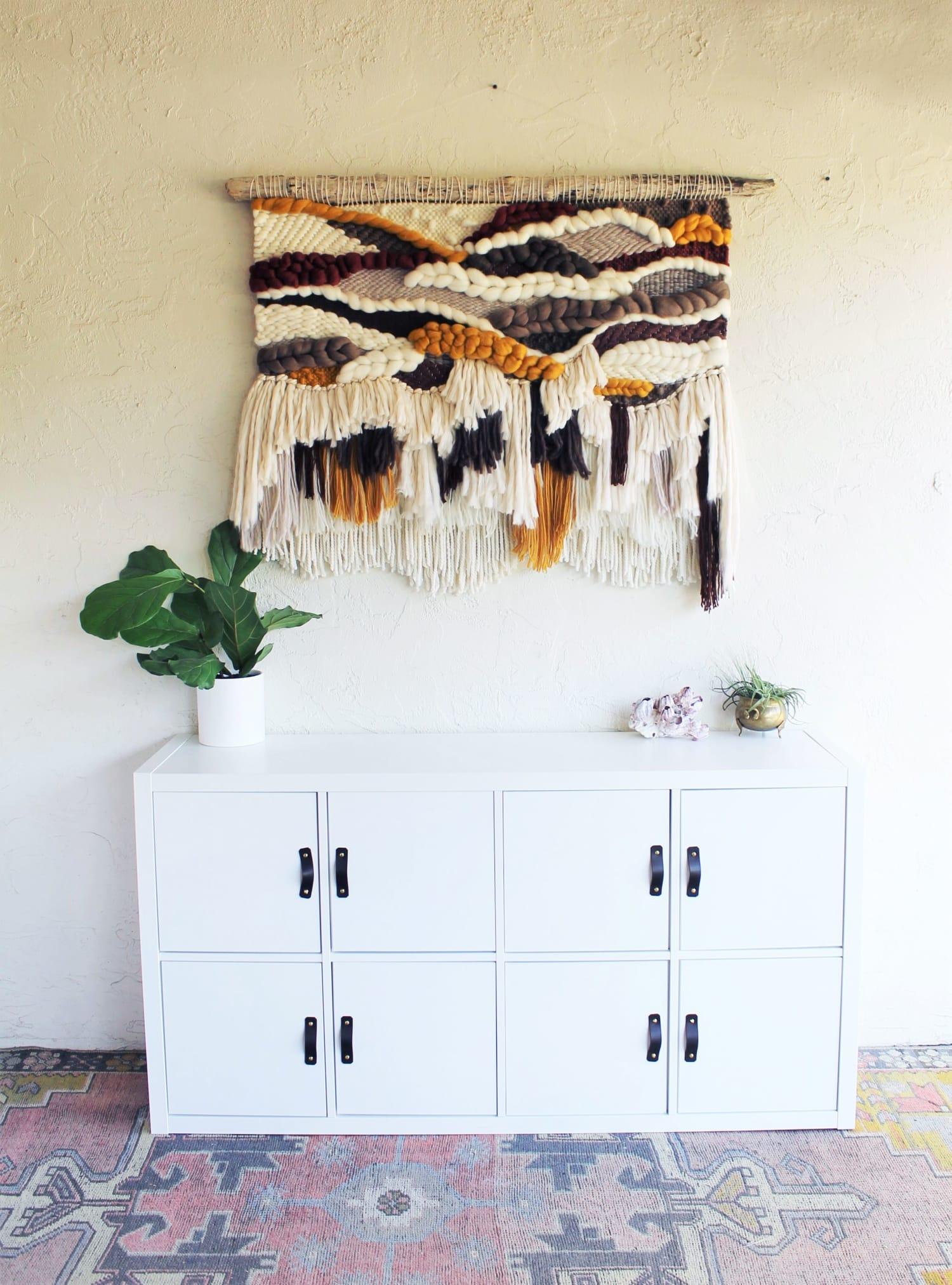 Yellow White Gray Brown Fiber Art Wall Hanging Texture