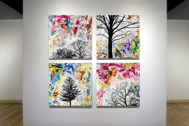 Rainbow abstract tree silhouette paintings