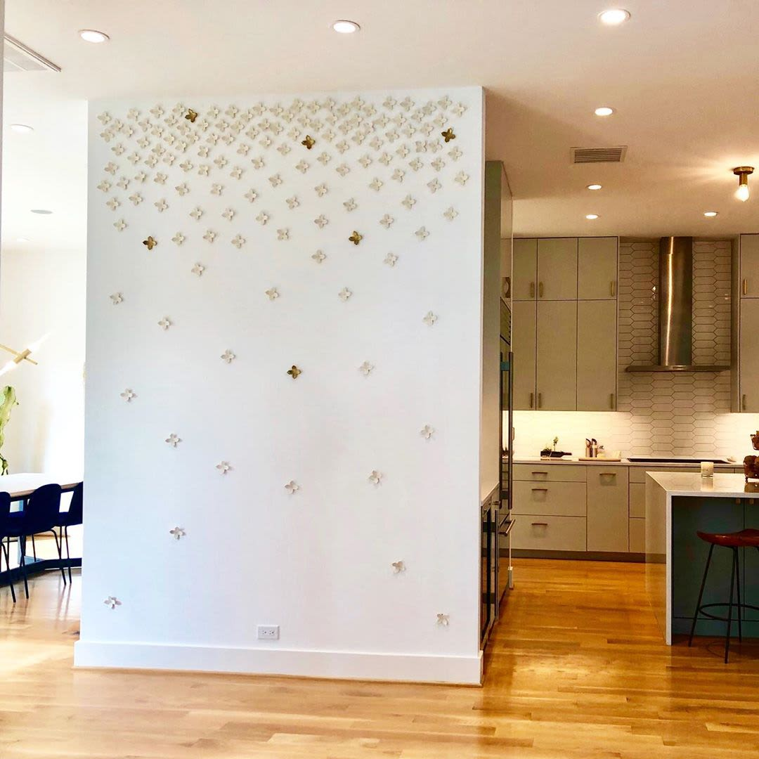 Ceramic Stitched Wall Installation Gold Accent