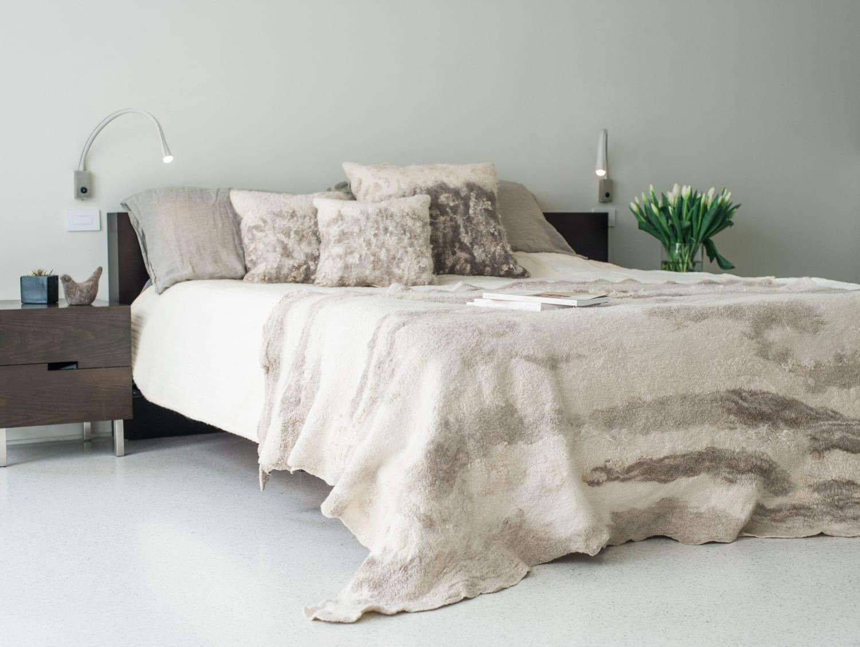 Cream and beige felt blanket