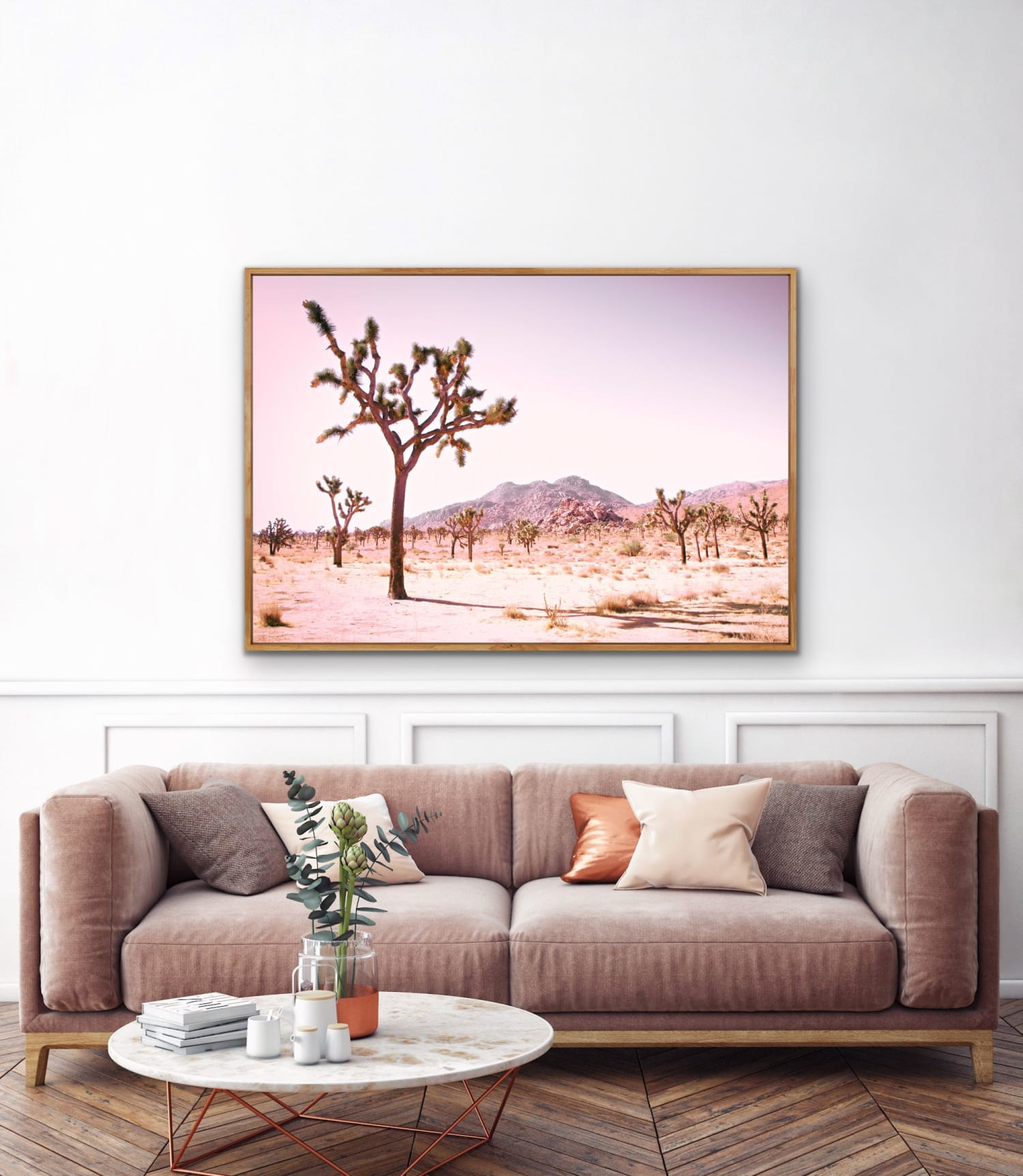 Beautiful Desert Photograph with Joshua Trees and Pastel Overtones