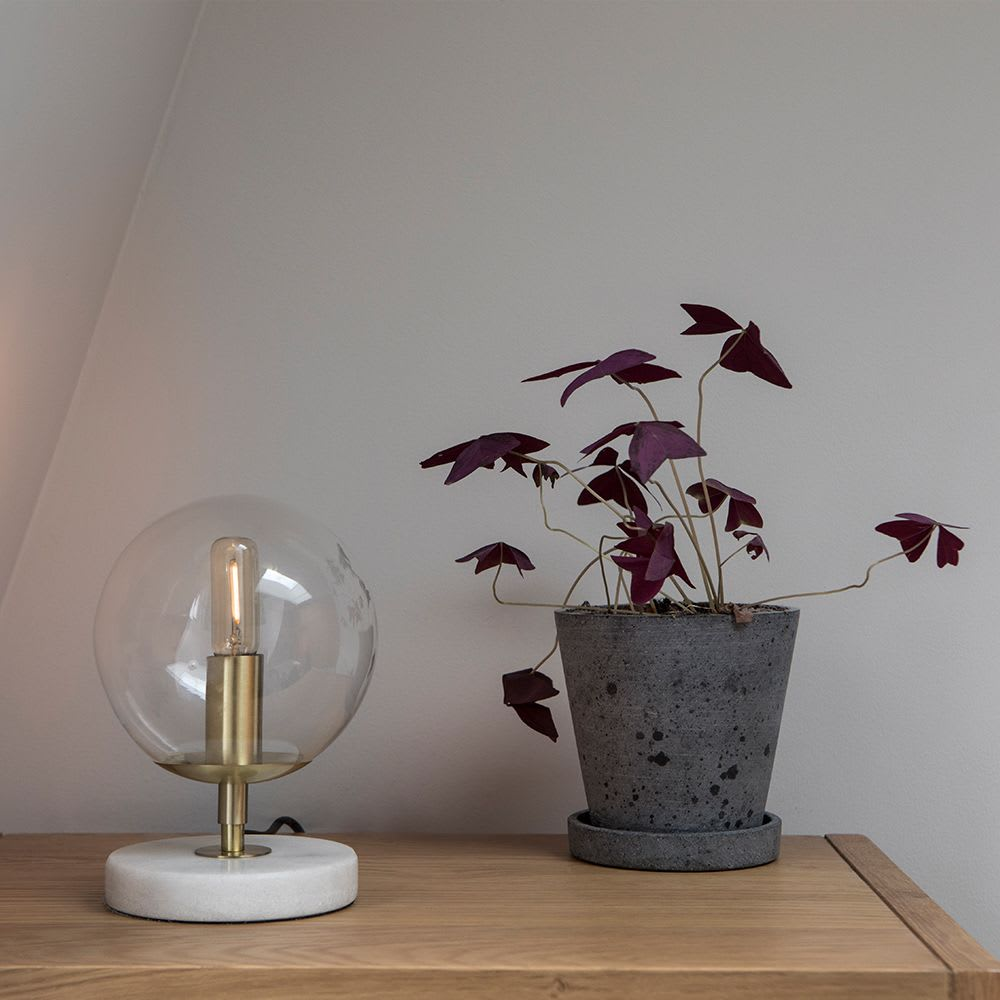 Gold light fixture with clear globe bulb