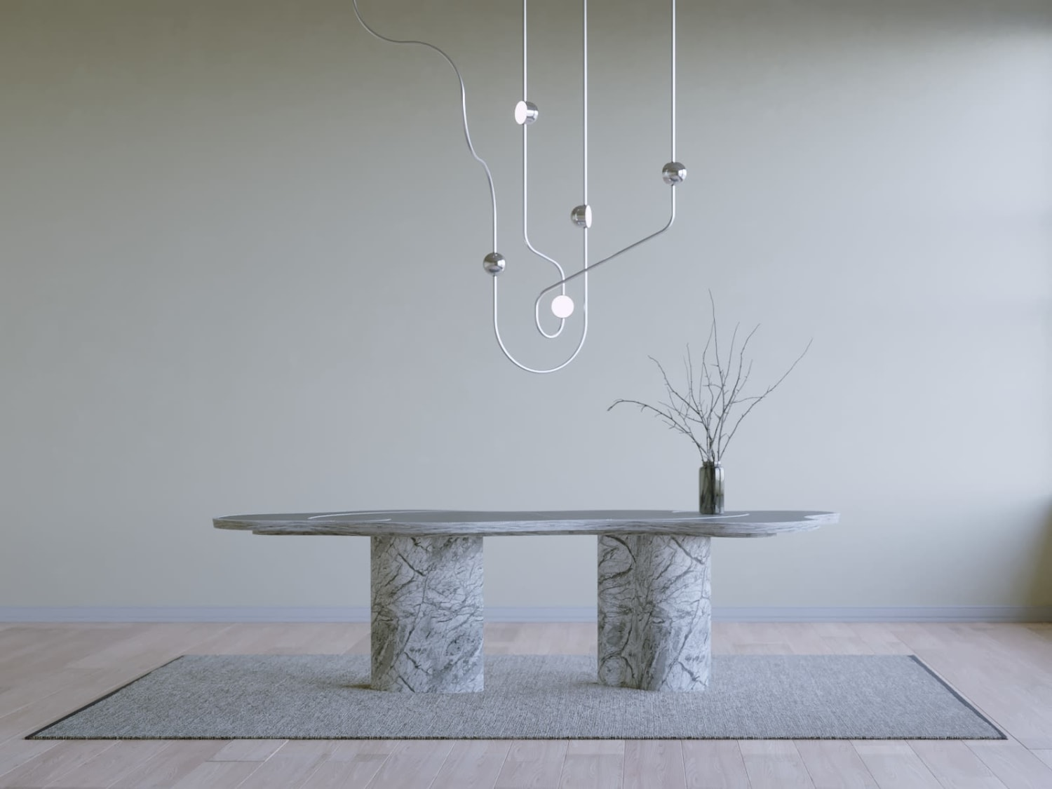 Twisted silver chandelier