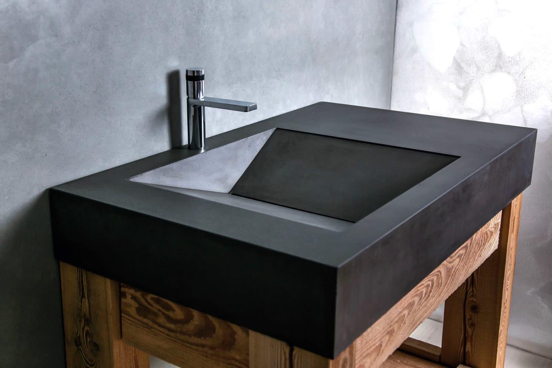 Modern black concrete sink