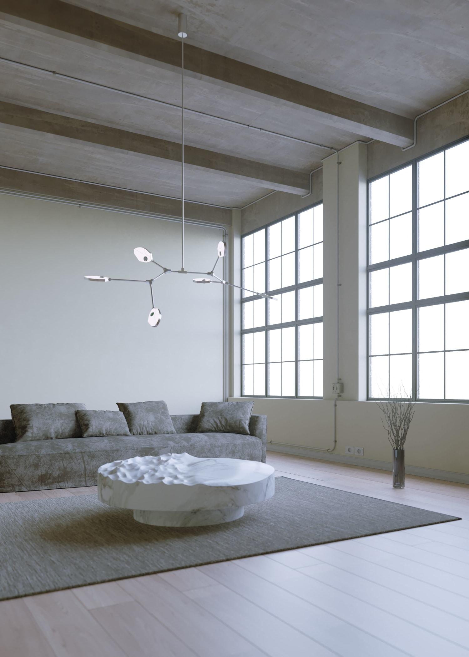 Contemporary silver chandelier