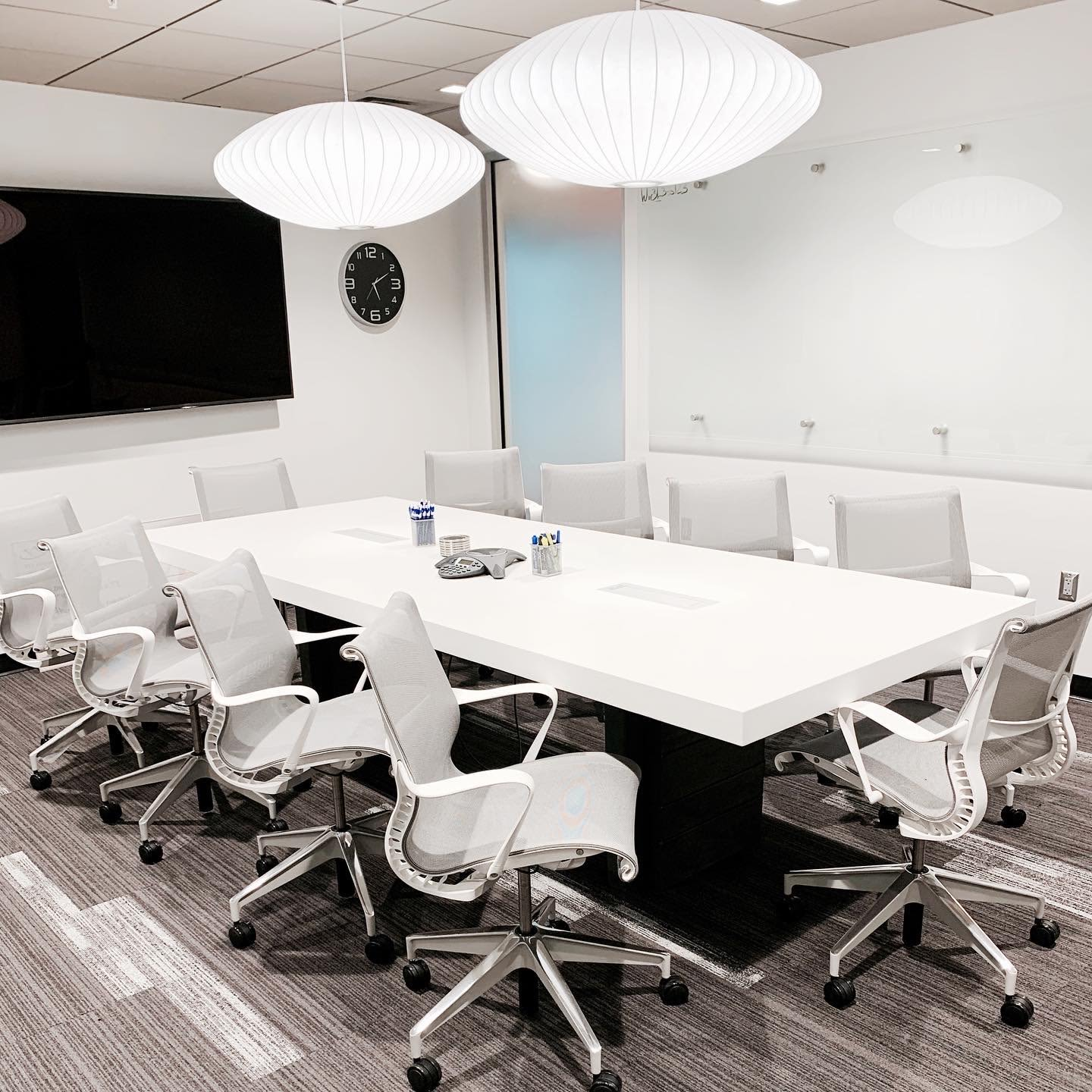 White concrete conference room table