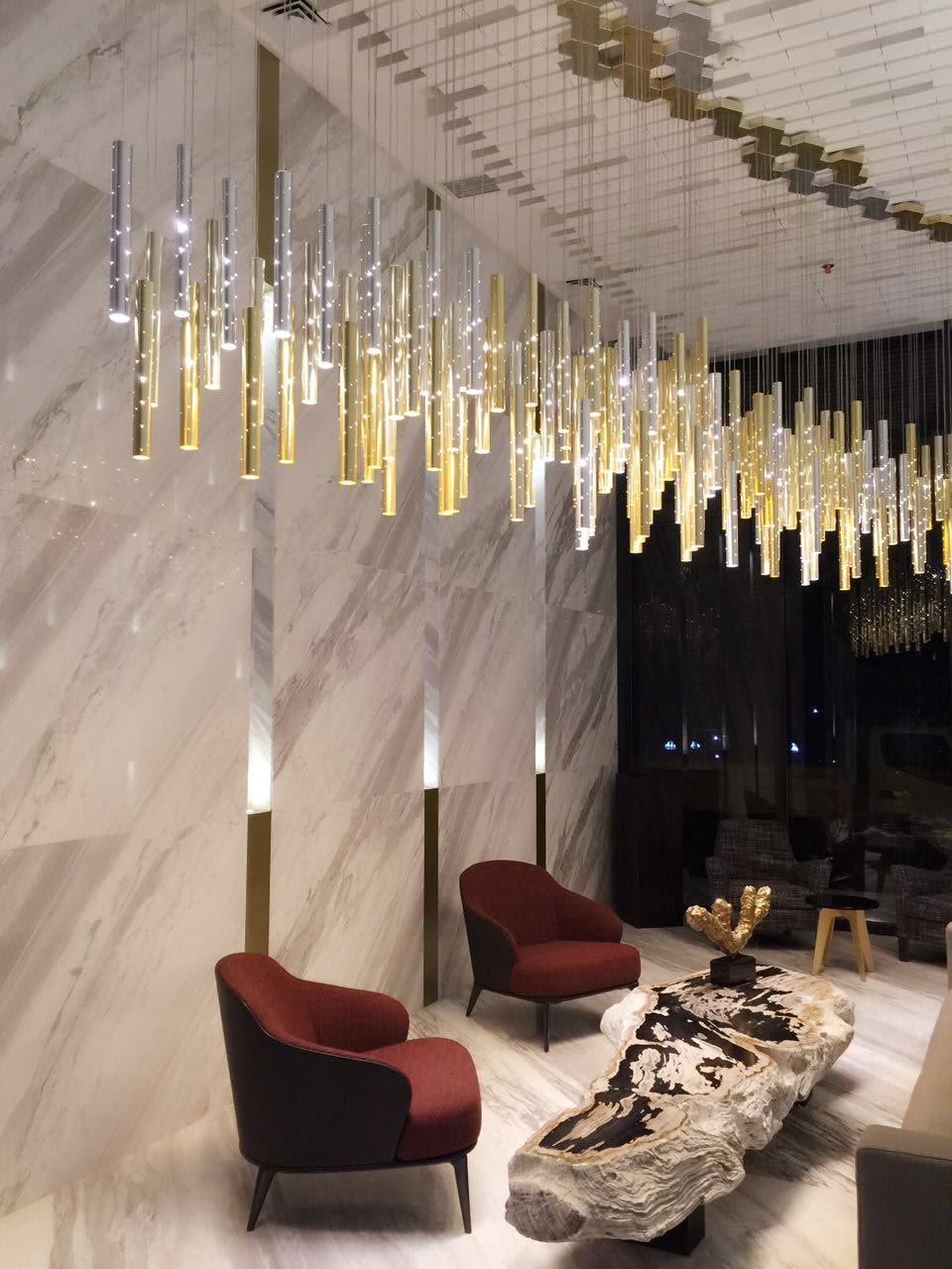 Hanging silver gold pendants chandelier