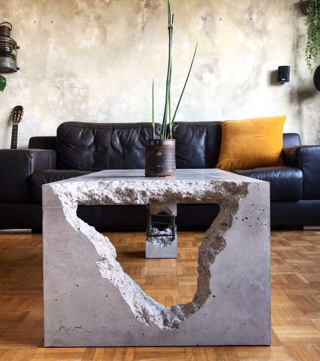 Brutalist concrete coffee table