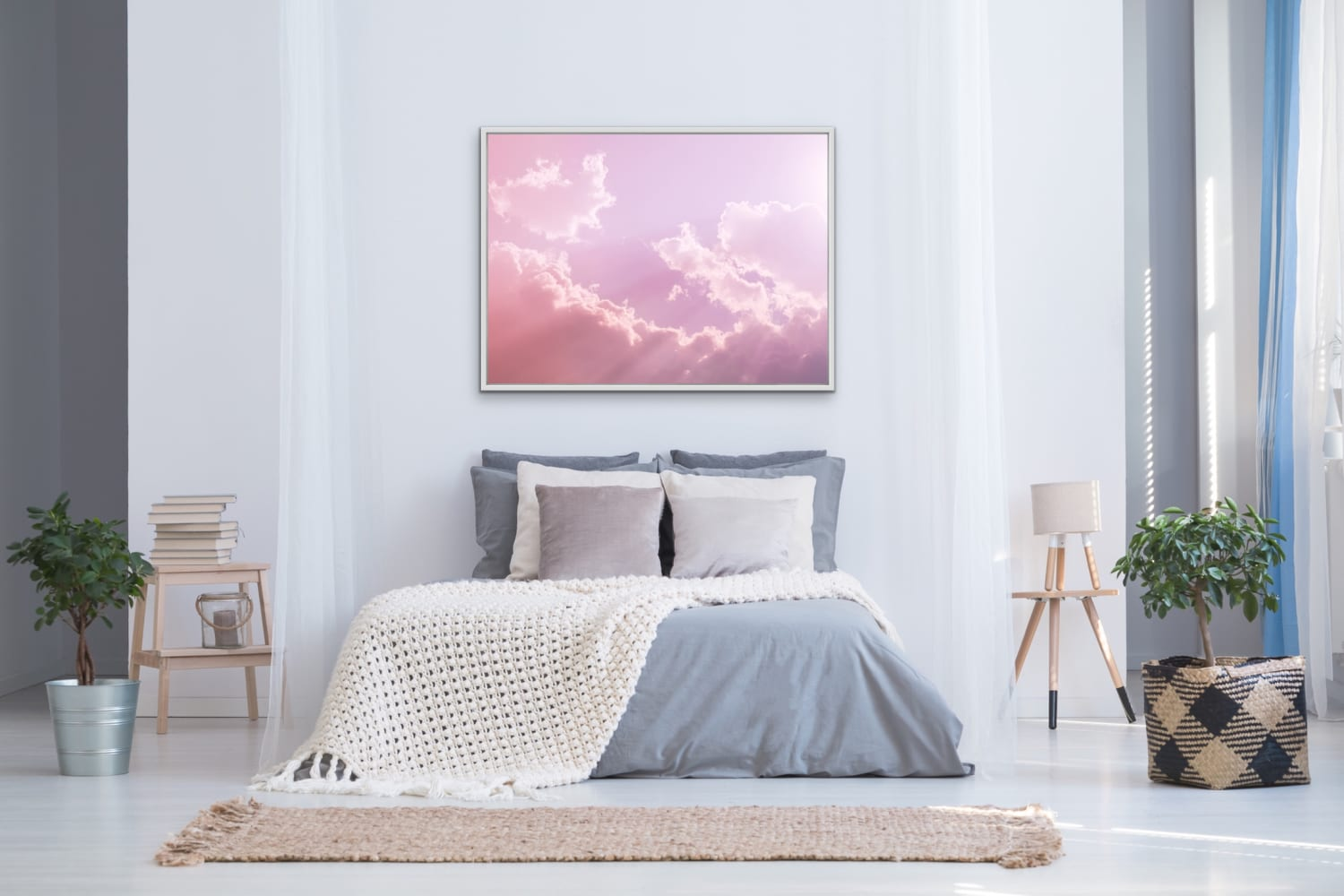 Pastel Pink Sky Photograph with Fluffy Clouds and God Rays