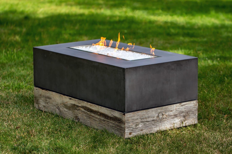 Black concrete fire pit