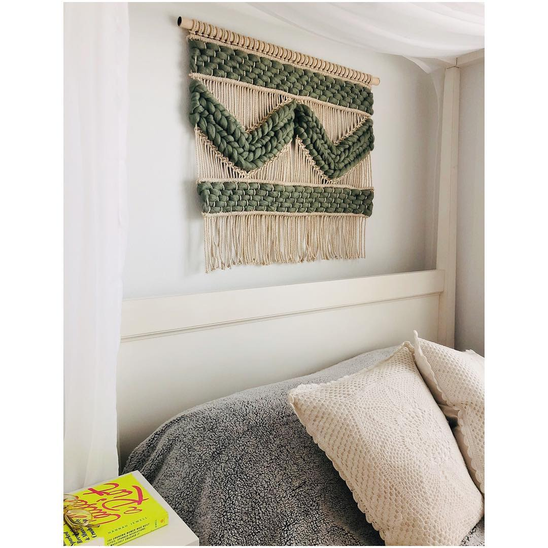 Geometric green macrame wall hanging