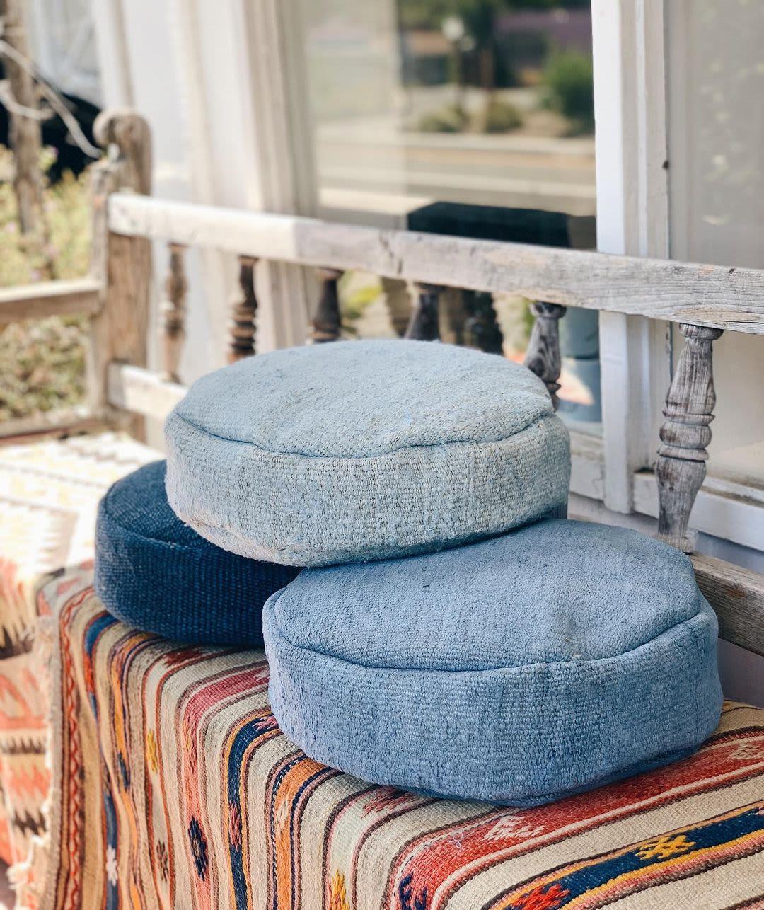 Blue floor cushions