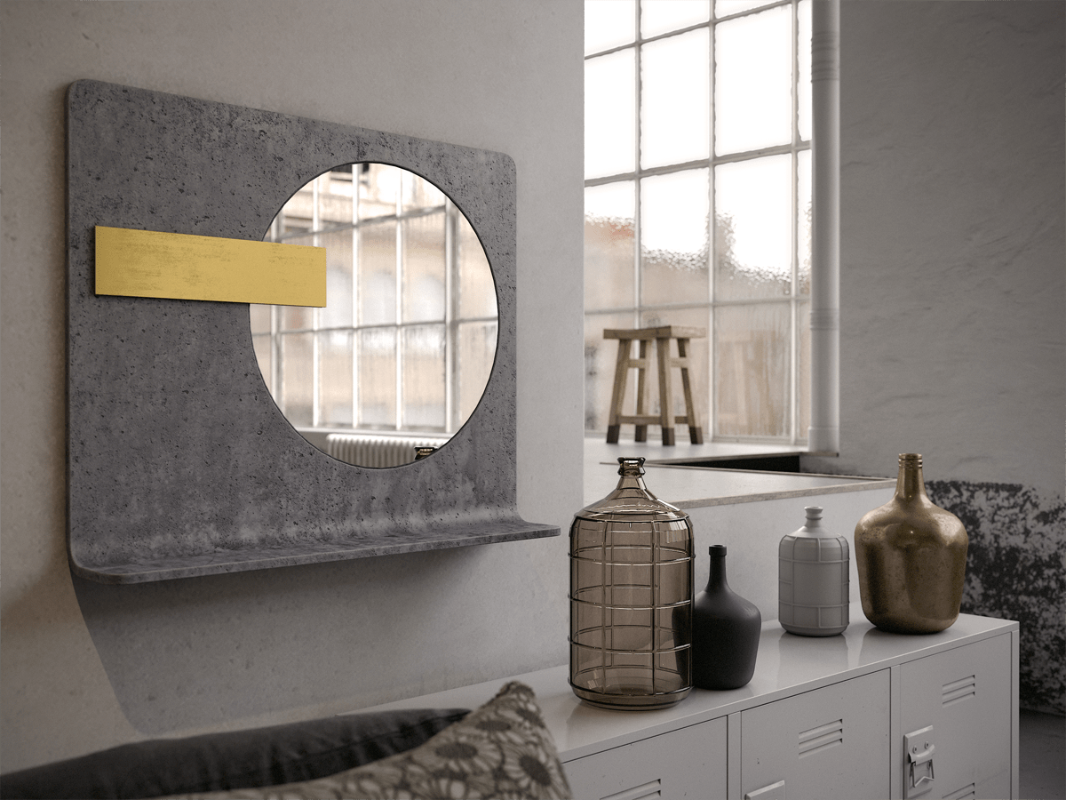 Gold concrete accent mirror