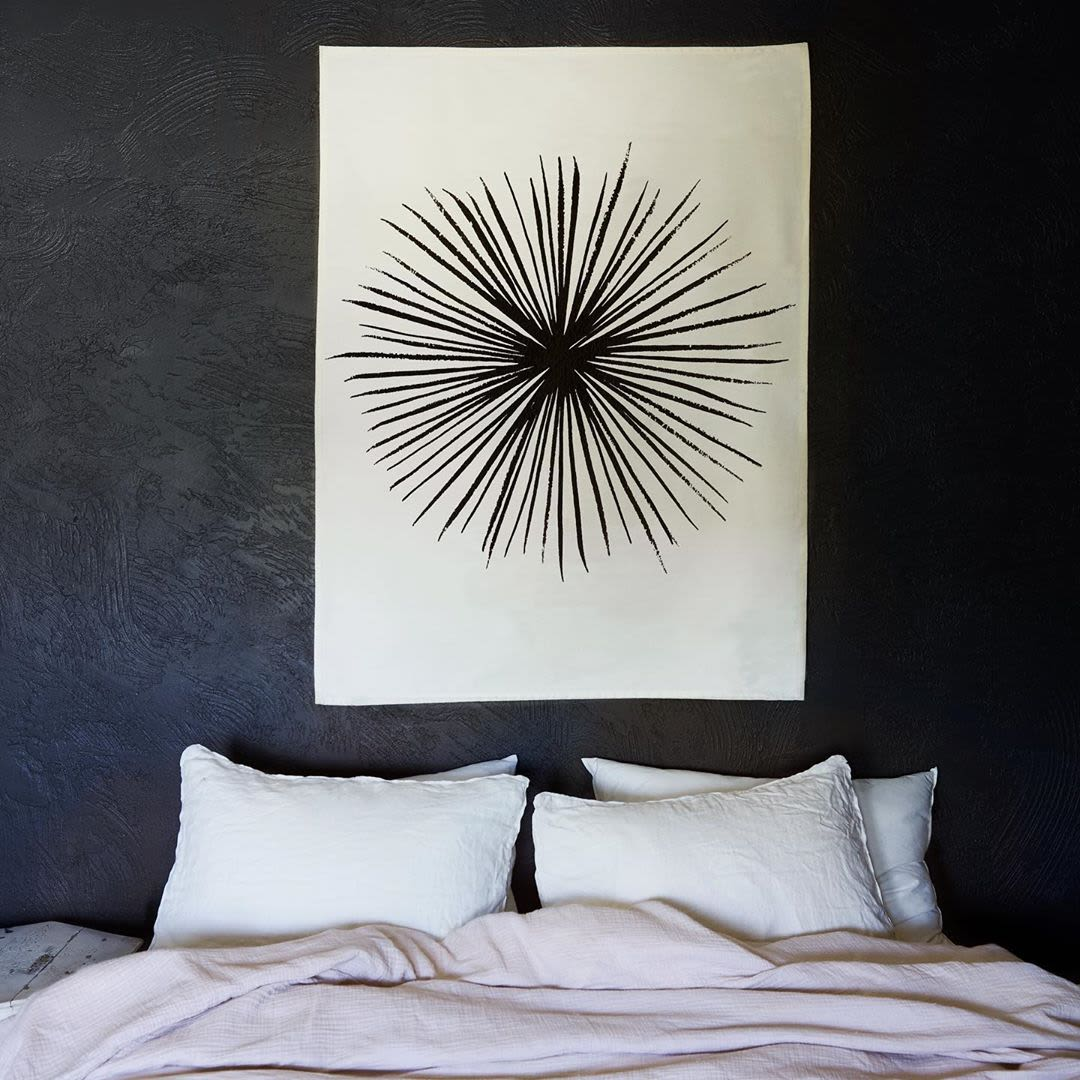 Black and white hand sewn tapestry