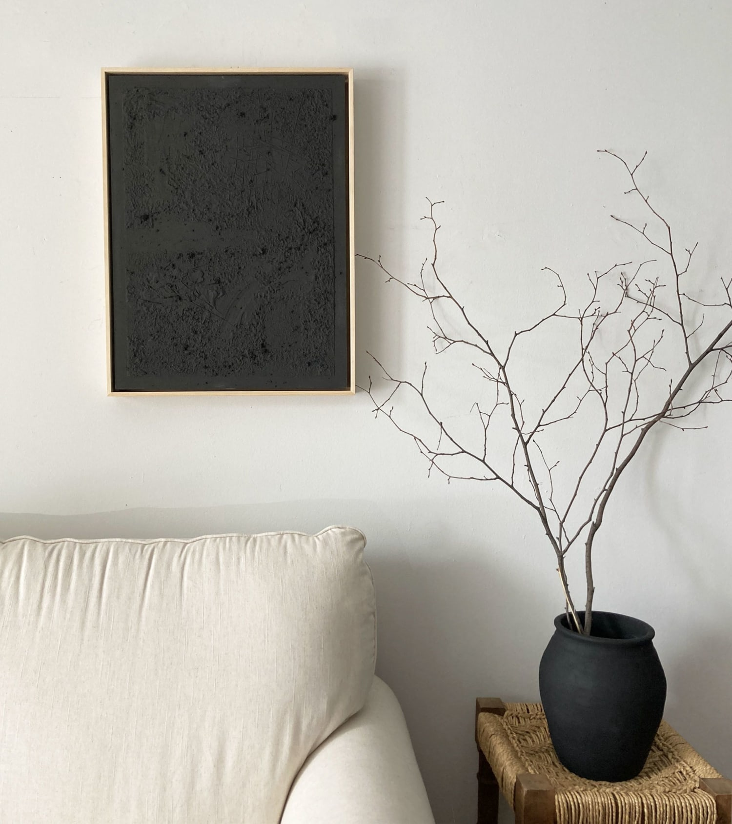 Black acrylic painting with gold frame