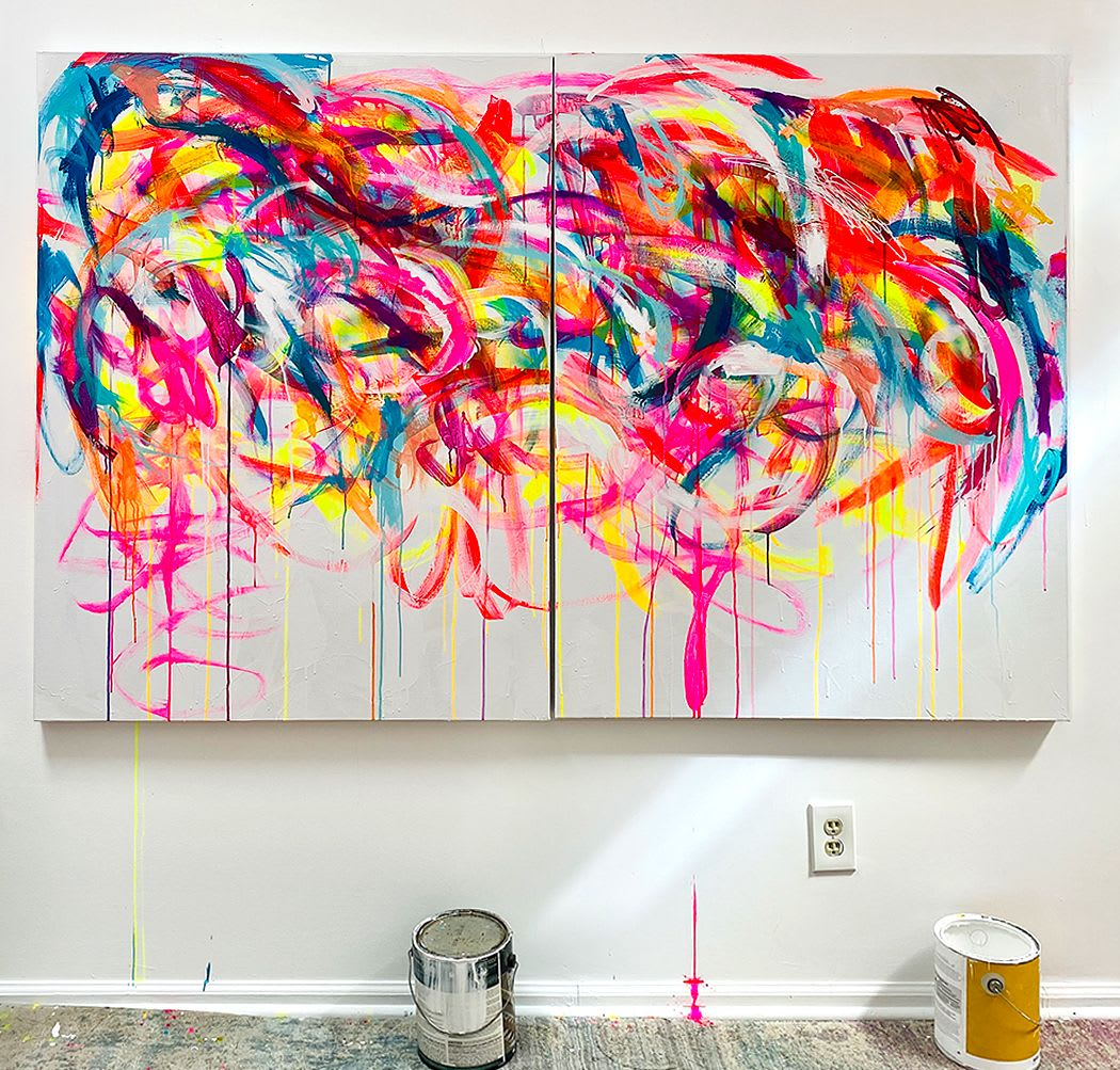 Bright messy abstract diptych