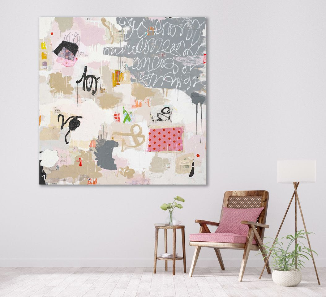 Mixed media pink and grey abstract painting