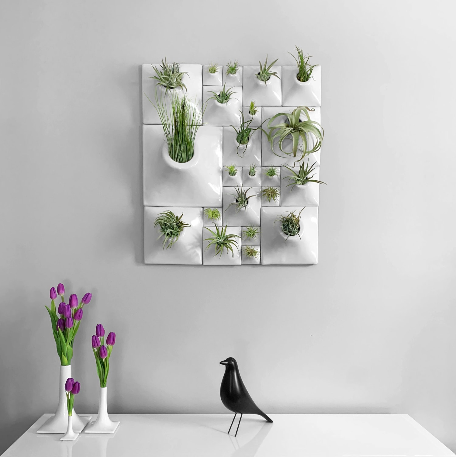 Abstract white wall planter