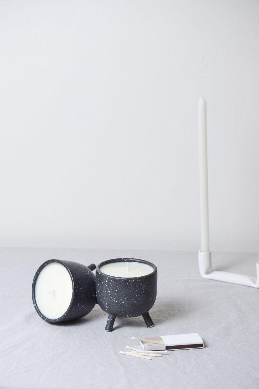 Black white speckle tea light holder