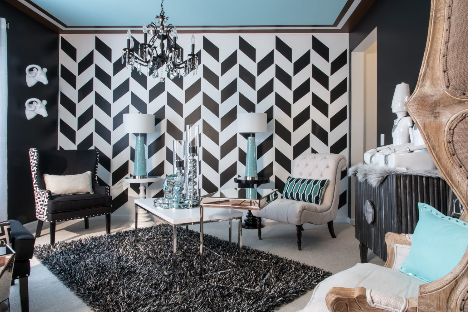 Glamorous Sitting Room Staggered Chevron Accent Wall Light Blue Ceiling Bohemian Furniture
