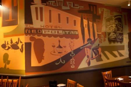 Murals by Brian Barneclo seen at Puccini & Pinetti, San Francisco - Back Wall Mural