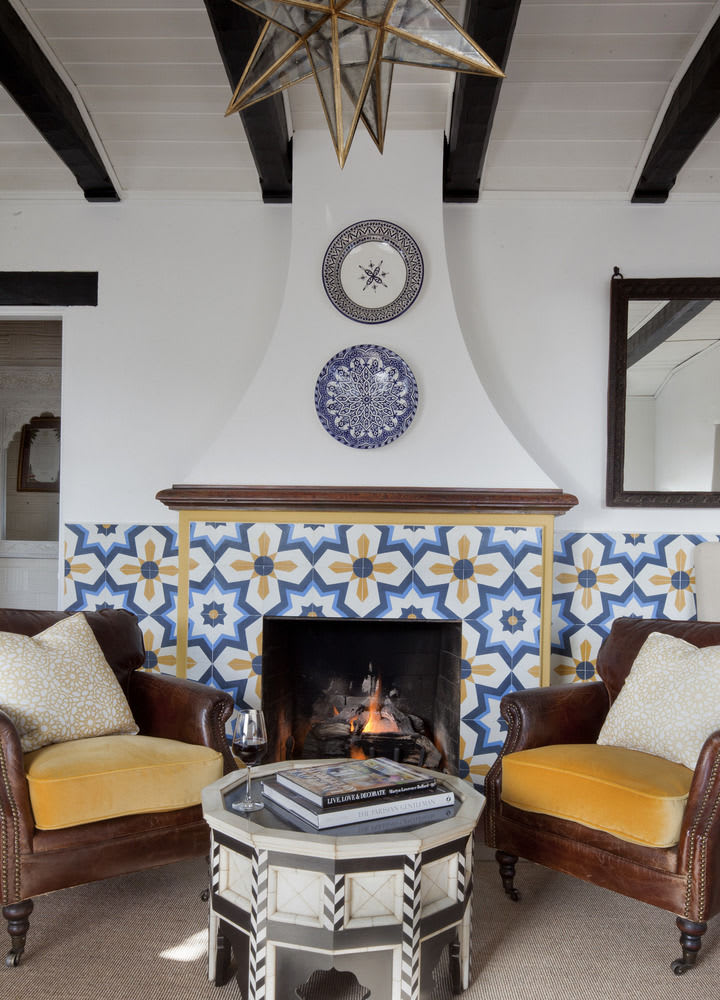 Floral blue yellow white wall tile fireplace