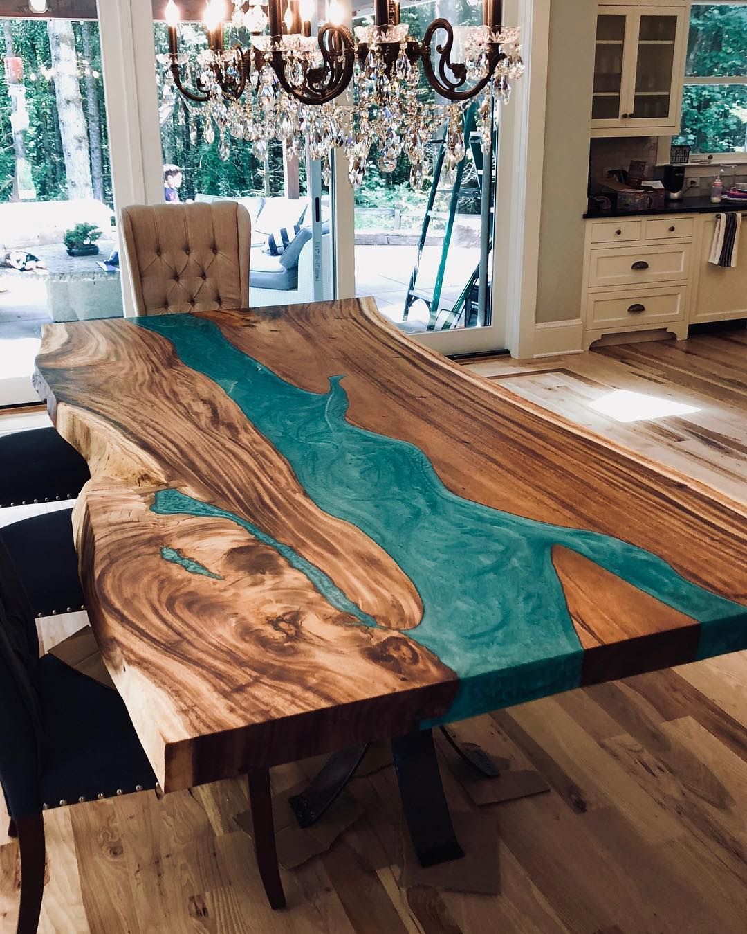 Natural wood resin dining table