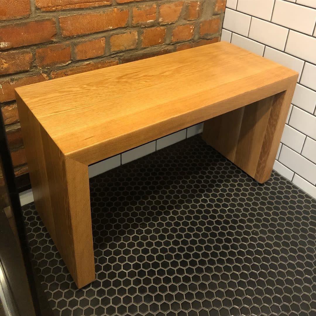 Natural wooden shower bench
