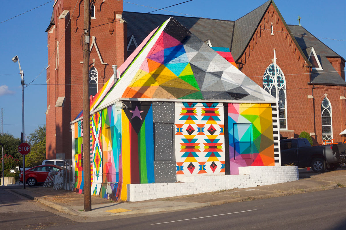 Street Murals by Okuda San Miguel at 1300 Garrison Avenue Fort Smith, AR, Fort Smith - Universal Chapel