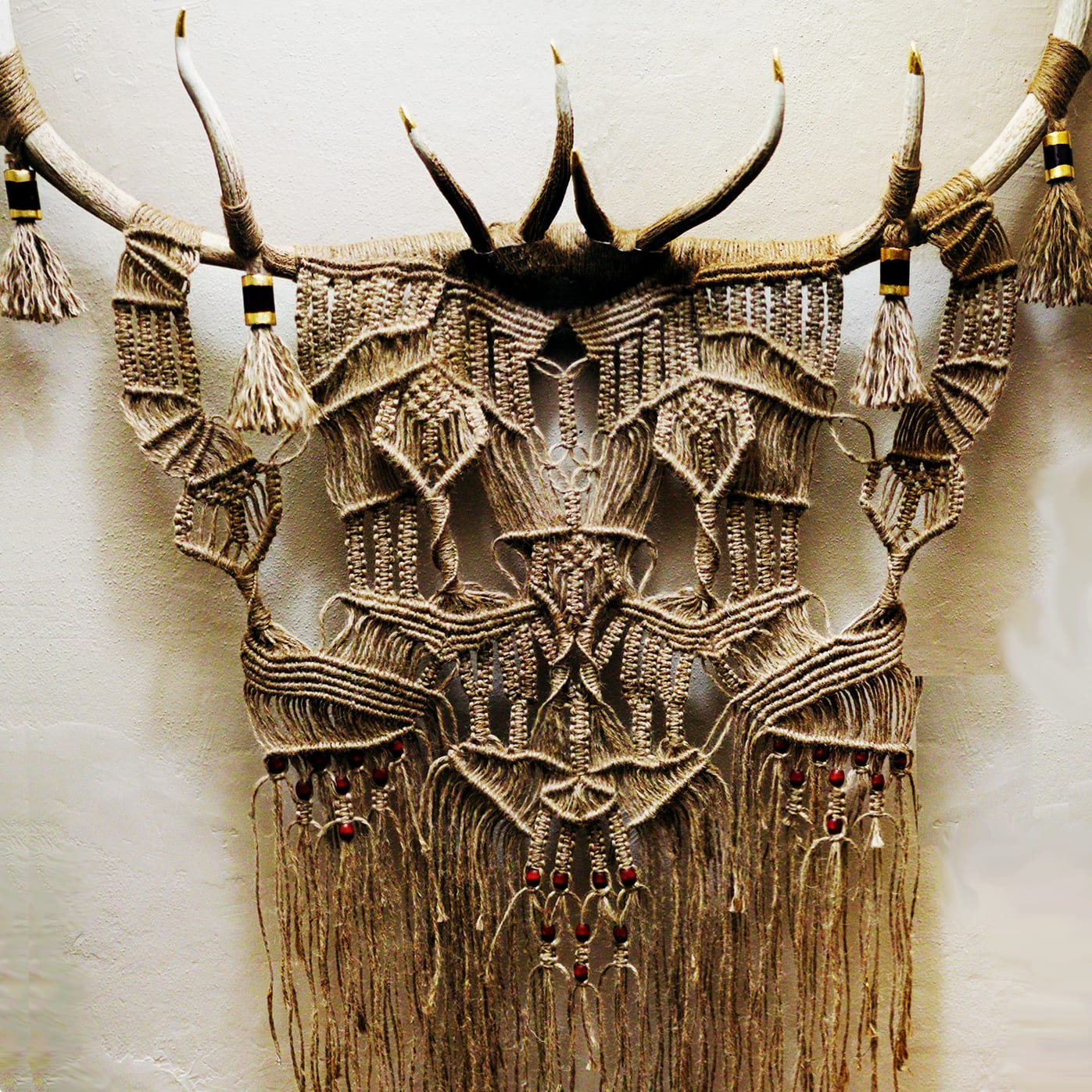 Wall Hanging Macrame with Elk Antlers by Free Creatures, Macrame Wall Hanging at EAST, Miami, Restaurant