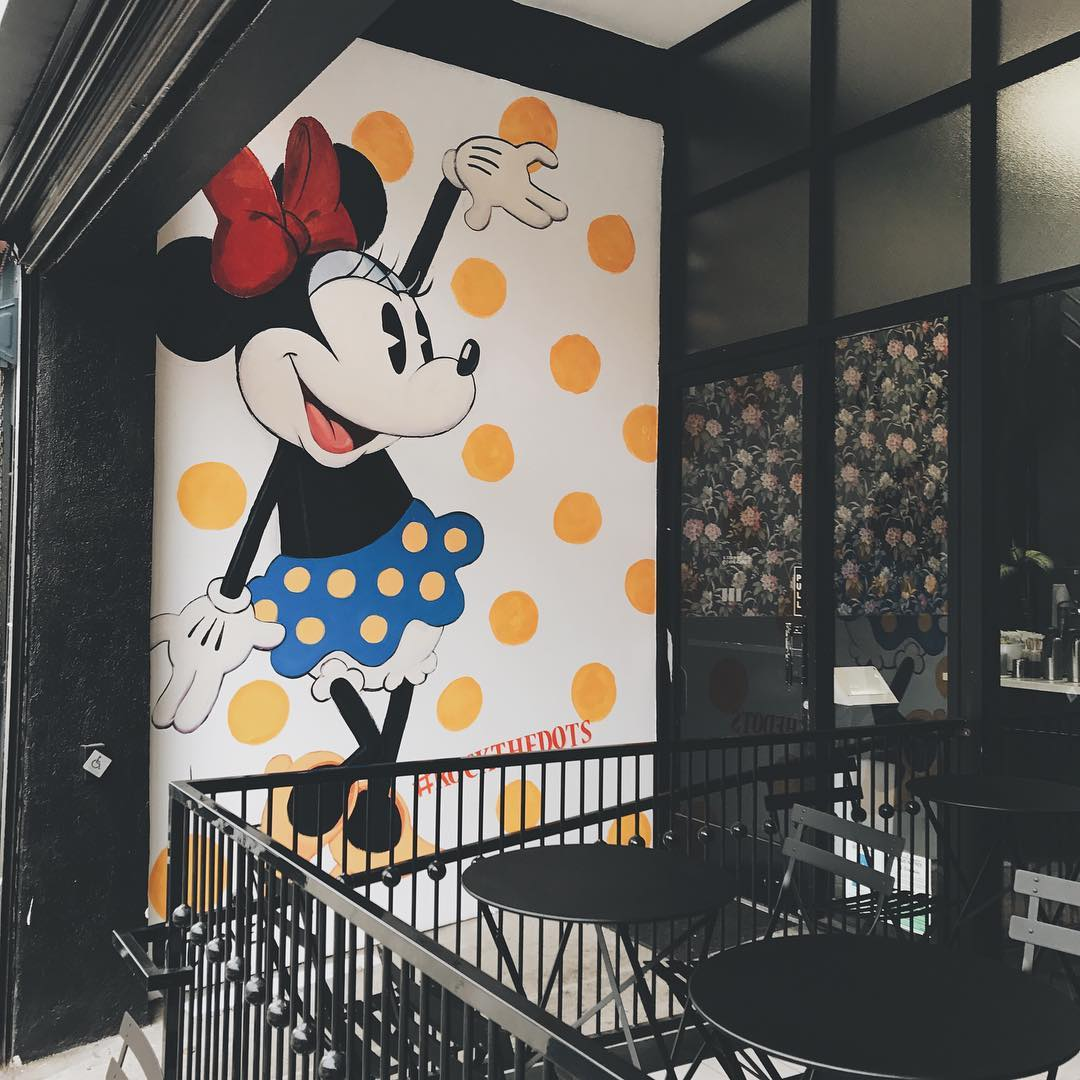 Murals by John T. Quinn III seen at Alfred Coffee (Silverlake), Los Angeles - Custom Mural Minnie Mouse