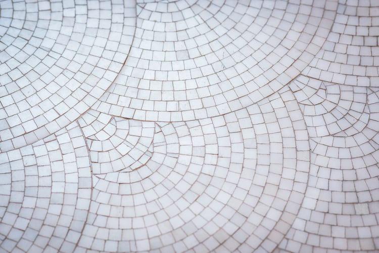 White layered Spanish tile flooring
