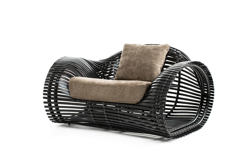 Chairs by Kenneth Cobonpue seen at Schindler Beach House, La Jolla CA, San Diego - Lolah Easy Armchair and Stool