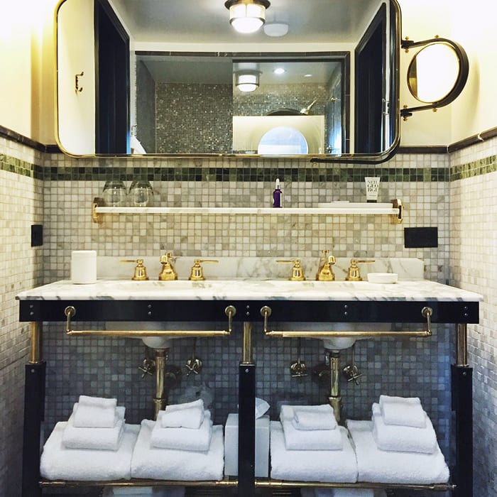Water Fixtures by Waterworks seen at Viceroy New York Hotel, New York - Transit Lever Handle Bathroom Faucet