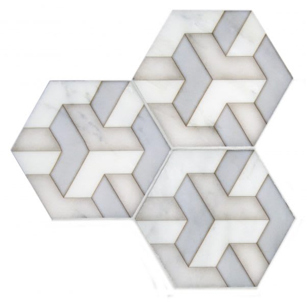Gray white patter hex tile detail