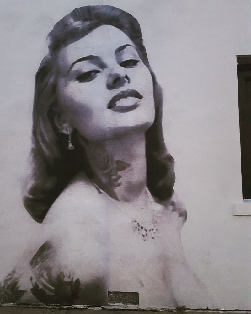 Murals by Cheyenne Randall aka INDIANGIVER seen at Felix, Los Angeles - Sophia Loren