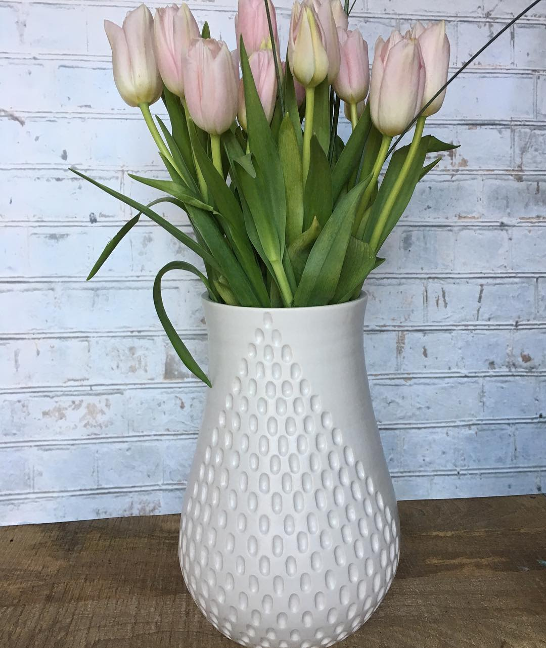 White Minimal Flower Vase with Imprinted Repeating Pattern