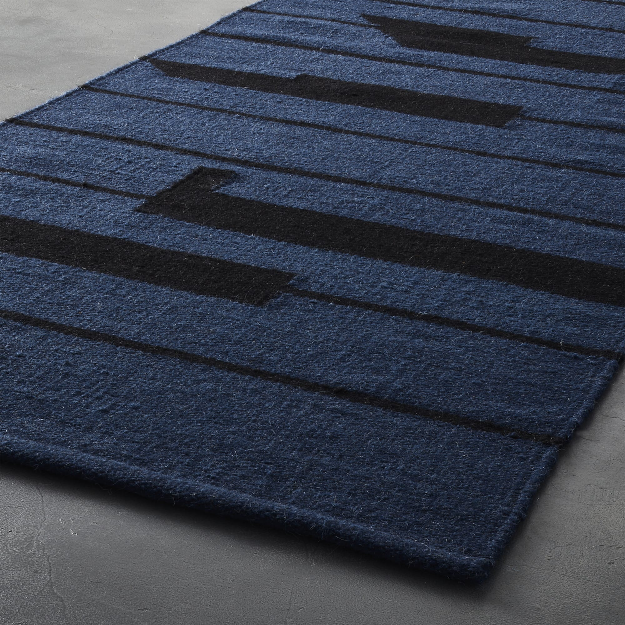 Rugs by Namavari seen at CB2, Berkeley - Rise Blue and Black Rug