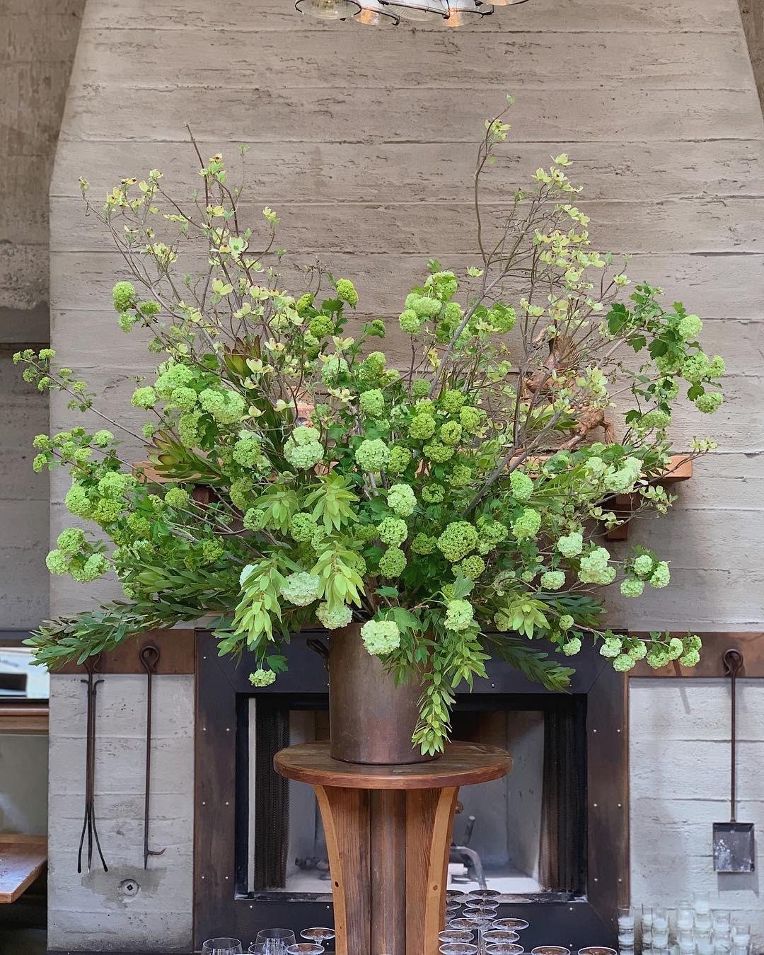 Floral Arrangements by Wallflower Design seen at Foreign Cinema, San Francisco - Floral Design