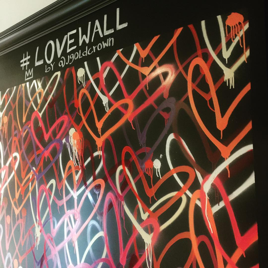 """Murals by JGoldcrown seen at Alfred Coffee (Melrose Place), Los Angeles - Custom Mural """"Lovewall"""""""