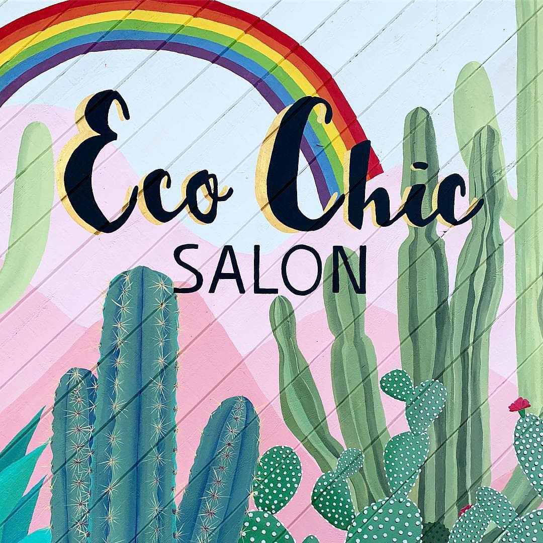 Murals by Wandering Delilah (Delilah Strukel) seen at Eco Chic Salon, San Diego - Eco Chic Salon Mural