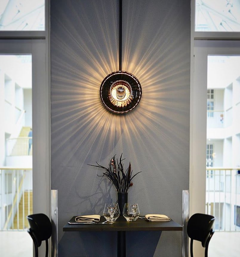 Sconces by Marie Burgos Design seen at Private Residence, New York - NEW WAVE OPTIC PENDANT LIGHT + NEW WAVE OPTIC WALL LIGHT LAMP