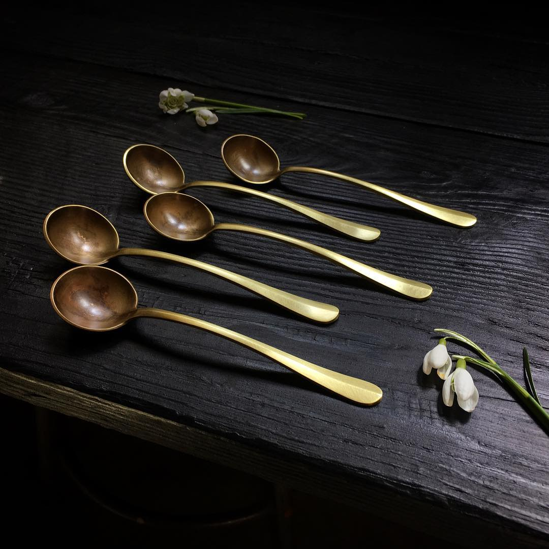 Curved Brass Serving Spoon