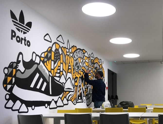 Murals by THE CAVER seen at adidas Store Santa Catarina, Porto - Indoor Mural