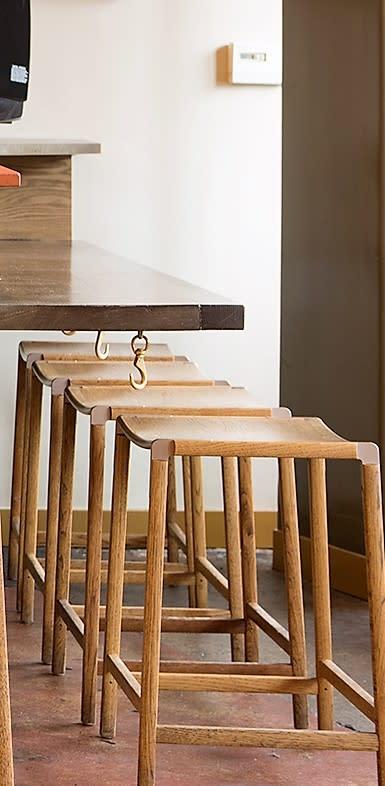 Scandinavian backless bar stool light wood
