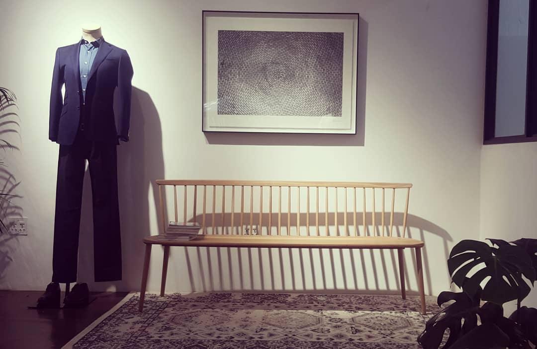 Light custom wooden bench