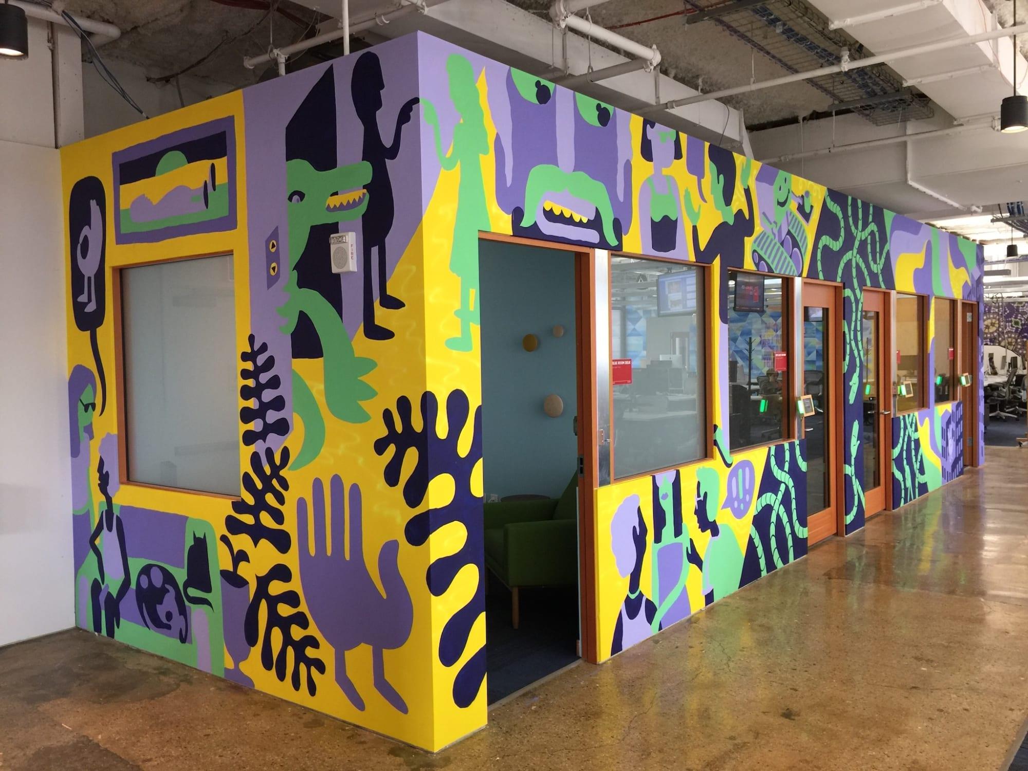 Murals by Edward Ubiera seen at Facebook, New York, Astor Place, New York - Future City