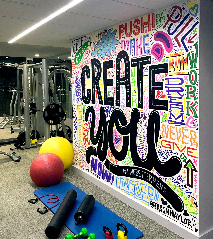 Murals by Jason Naylor seen at Stonehenge NYC, New York - StoneHengeNYC Gym Mural